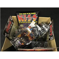 LARGE BOX LOT OF ASSORTED RACING / KISS COLLECTABLES