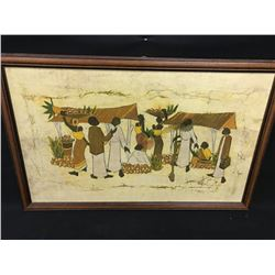 AFRICAN THEMED LOT WITH FRAMED ART AND LARGE AFRICAN AREA RUG