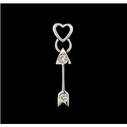 0.10 ctw Diamond Heart and Arrow Pendant - 14KT White Gold