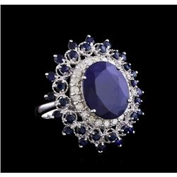 13.31 ctw Sapphire and Diamond Ring - 14KT White Gold