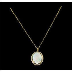 35.75 ctw Opal and Diamond Pendant With Chain - 14KT Yellow Gold