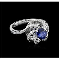 18KT White Gold 1.00 ctw Sapphire and Diamond Ring