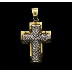 0.70 ctw Diamond Cross Pendant - 14KT Yellow Gold