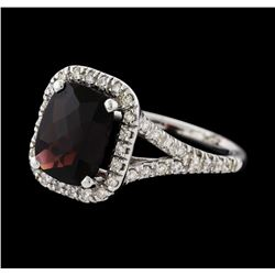 2.93 ctw Pyrope Garnet and Diamond Ring - 14KT White Gold