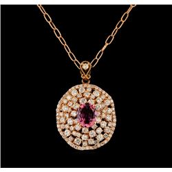 14KT Rose Gold 2.16 ctw Tourmaline and Diamond Pendant With Chain