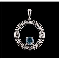 1.19 ctw Blue Diamond Pendant With Chain - 14KT White Gold