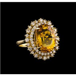 14KT Yellow Gold 8.56 ctw Citrine and Diamond Ring