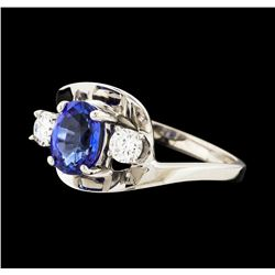 1.49 ctw Sapphire and Diamond Ring - 14KT White Gold