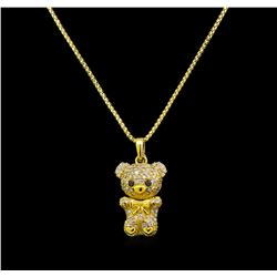 1.18 ctw Diamond Teddy Bear Pendant - 18KT Yellow Gold