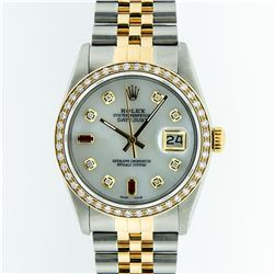 Rolex Two Tone Diamond and Ruby DateJust Men's Watch
