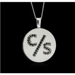 14KT White Gold 0.35 ctw Black Diamond Pendant With Chain