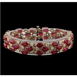 37.44 ctw Ruby and Diamond Bracelet - 14KT Rose Gold
