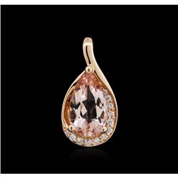 14KT Rose Gold 1.69 ctw Morganite and Diamond Pendant