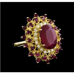 9.94 ctw Ruby and Diamond Ring - 14KT Yellow Gold