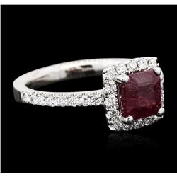 18KT White Gold 1.00 ctw Ruby and Diamond Ring