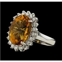 5.98 ctw Citrine and Diamond Ring - 14KT White Gold