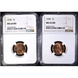(2) 1938 LINCOLN CENTS NGC MS-65 RED & MS-66 RED