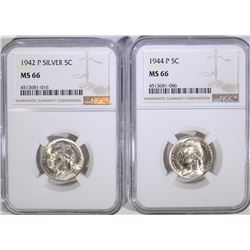 1942-P & 1944-P SILVER JEFFERSON NICKELS BOTH NGC MS 66