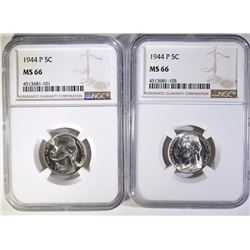 (2) 1944-P JEFFERSON NICKELS NGC MS66  BETTER DATE
