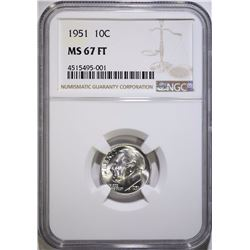 1951 ROOSEVELT DIME, NGC MS-67 FULL TORCH