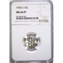 1955-S ROOSEVELT DIME, NGC MS-66 FULL TORCH