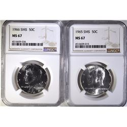 1965 & 1966 SMS KENNEDY HALF DOLLARS, NGC MS-67