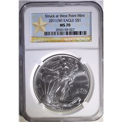 2011-(W) AMERICAN SILVER EAGLE, NGC MS-70