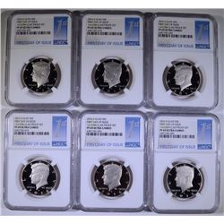6 2016-S CLAD KENNEDY HALF DOLLAR NGC PROOF 69 ULTRA CAMEO FIRST DAY OF ISSUE