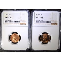 (2) 1938 LINCOLN CENT NGC MS65RD