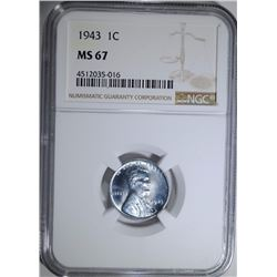 1943 STEEL LINCOLN CENT NGC MS67