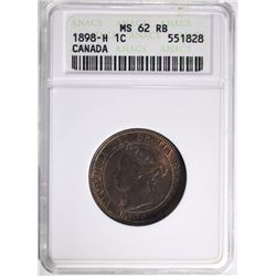 1898-H CANADA LARGE CENT ANACS MS 62 RB  RARE