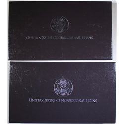 2 - 1989 CONGRESSIONAL COMMEM SETS - 2pc SILVER DOLLAR / CLAD HALF and $1 SILVER