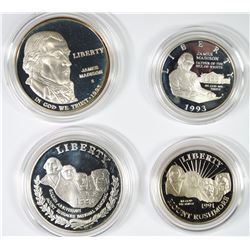 2 - PROOF COMMEMORATIVE 2 coin SETS; 1991 MT RUSHMORE & 1993 BILL of RIGHTS