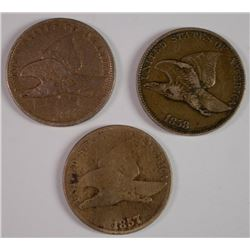FLYING EAGLE ONE CENT SET: 1857 GOOD, 1858 L.L. XF, 1858 S.L. VF