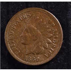 1869 INDIAN CENT NICE BROWN F-VF  KEY DATE