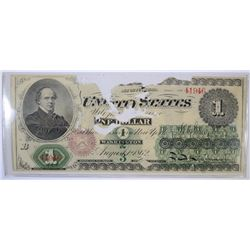1862 $1.00 U.S. NOTE, POOR BUT RARE