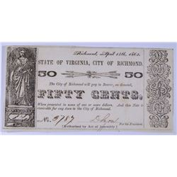 1862 STATE OF VIRGINIA, CITY OF RICHMOND FIFTY CENT OBSOLETE NOTE, CU