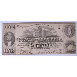 1863 $1.00 THE STATE OF ALABAMA NOTE, CU  SELDOM SEEN THIS NICE