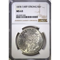 1878 7/8 TF STRONG MORGAN SILVER DOLLAR, NGC MS-63
