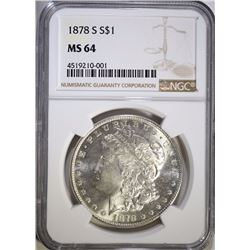 1878-S MORGAN SILVER DOLLAR, NGC MS-64