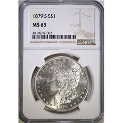 1879-S MORGAN SILVER DOLLAR, NGC MS-63