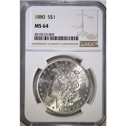 1880 MORGAN SILVER DOLLAR, NGC MS-64