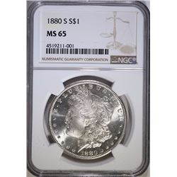 1880-S MORGAN SILVER DOLLAR, NGC MS-65 GEM