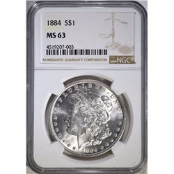 1884 MORGAN SILVER DOLLAR, NGC MS-63