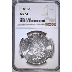 1886 MORGAN SILVER DOLLAR, NGC MS-64