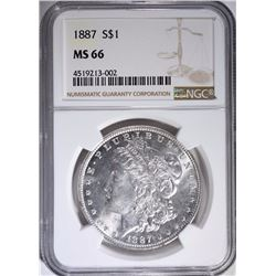 1887 MORGAN SILVER DOLLAR, NGC MS-66!