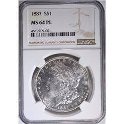 1887 MORGAN SILVER DOLLAR, NGC MS-64 PL