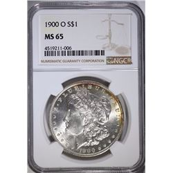 1900-O MORGAN SILVER DOLLAR, NGC  MS-65