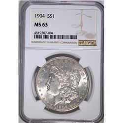 1904 MORGAN SILVER DOLLAR, NGC MS-63