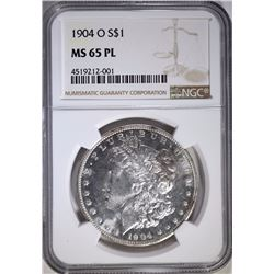1904-O MORGAN SILVER DOLLAR, NGC MS-65 PL SUPER!